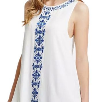 Neck Vest Embroidered Sundress