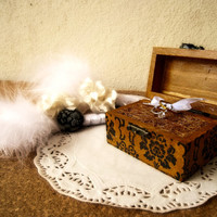 Wedding Vintage Victorian Wooden box Ring bearer Gift box Wedding decor gift idea