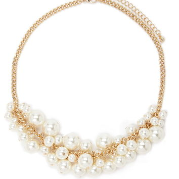 Faux Pearl Statement Necklace