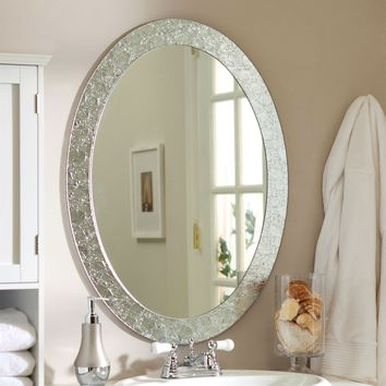 Oval Frame-less Bathroom Vanity Wall Mirror with Elegant Crystal Border