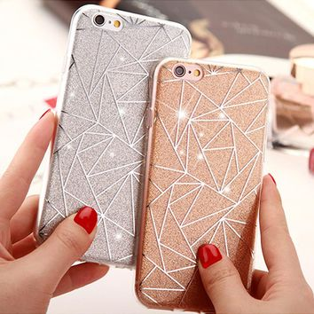 For iPhone 7 6 6S Plus 8 Plus X Cover Case Glitter Powder Silver Case For iPhone 6 6S 7Plus 8Plus Capa