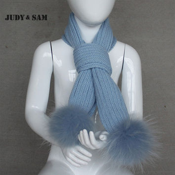 New Design Brand 1-3years Scarves Knitted Cute Boys Children Warm Matching Colorful Raccoon Fur Pom Pom Winter Scarf Scarves