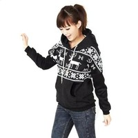 Hee Grand Women Pullover Deer Snowflakes Pattern Hooded
