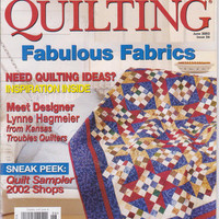 American Patchwork and Quilting magazine June 2002 Better Homes and Gardens combining embroidery and quilting, how to select fabrics