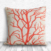 Pillow Cover, Botanical Pillow Cover, Coral Pillow Cover, Linen Pillow Cover 18x18 - Printed Coral - 095