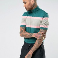 ASOS Knitted Short Sleeve Track Top With Colour Block at asos.com