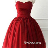 Custom Made Short Burgundy Prom Dress, Burgundy Bridesmaid Dress, Graduation/Homecoming Dress