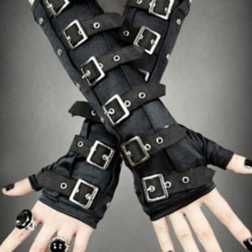 Gothic Buckle Arm Warmers Punk Steampunk