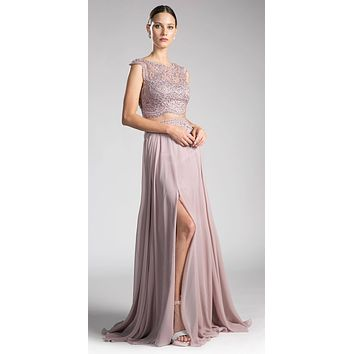 Mauve Illusion Beaded Formal Gown Cap Sleeves with Slit