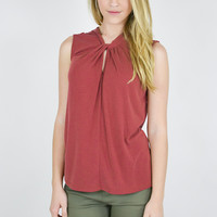 Sleeveless Twisted Knit Top