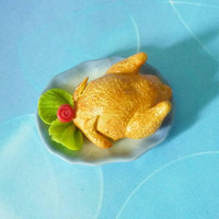 Miniature chicken one inch scale roasted chicken blue plate /Fake food /Dollhouse miniatures/ miniature items / miniature food