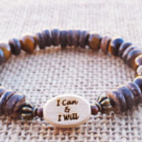 I CAN & I Will Courage Bracelet Confidence Beaded Tigers Eye Coco Wood Bracelet Boho Beach Word Engraved bracelet Men's Surfer Beach Summer