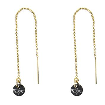 Tiny Disc Black Marble Howlite Threader Earrings