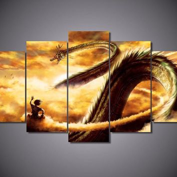 5Piece Wall Canvas Dragon Ball Prints Painting Cartoon Art Picture For Room Posters Prints Home Decor Art Painting On The Wall