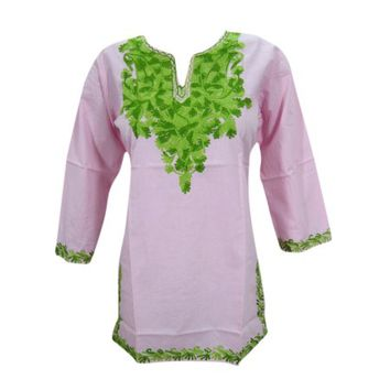 Mogul Women's Green Embroidered Indian Ethnic Pink Tunic Top Blouse S - Walmart.com