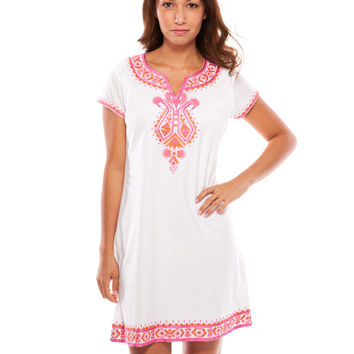 Alice short sleeve Dress - White and Pink