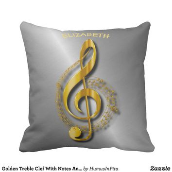 Golden Treble Clef With Notes And Shadows Throw Pillow