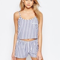 Boohoo Stripe Pyjama Top & Short Set at asos.com