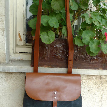 Black Mini Waxed Canvas Messenger Bag - BrownLeather Single Strap Shoulder bag / Messenger Bag / Diaper Bag
