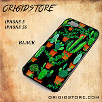 Cactus Black Pattern For Iphone 5 Case - Gift Present Multiple Choice