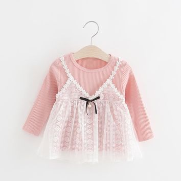 Autumn Long Sleeve Lace Knitting Patchwork Bow Baby Party Birthday Girls Kids Children Princess Infants Tutu Dress Vestido S5628