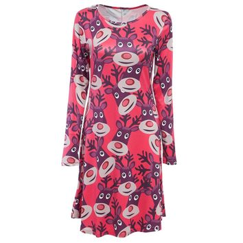 Round Collar Long Sleeve Deer Print A-Line Christmas Swing Dress for Ladies