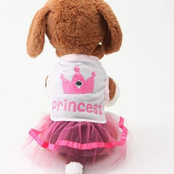 Pet Dress Dog Pet Clothes Female Pet Summer Lovely Crown Princess Dress Pink Apparel Costume Dog Clothes For Chihuahua Teddy