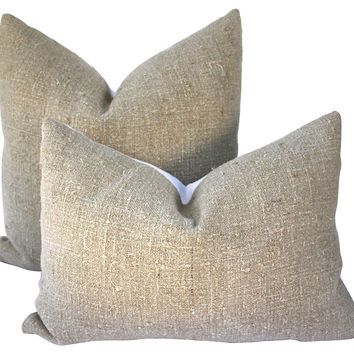 German Grain Sack & Linen Pillows, S/2