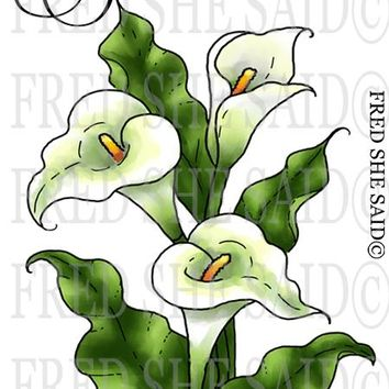 New  Calla Lilies Rubber Stamp Set [00-888P8]