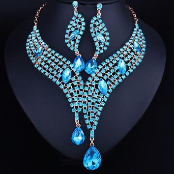 Luxurious Full Crystal Rhinestone Statement Necklace and long earrings sets Dazzling  jewelry sets