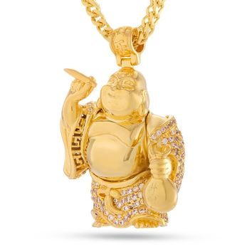 The CZ Laughing Buddha Necklace