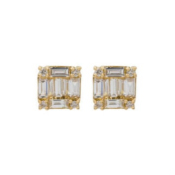Shay Square Stacked Baguette Stud Earrings - Farfetch