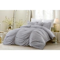 4 PC RUCHED ALL SEASON SUPER SOFT OVERSIZED COMFORTER SET - GRAY - STYLE 1052