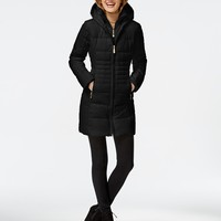 Vince Camuto Knit-Trim Quilted Down Coat