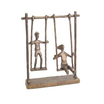 Danya B. ZD4146 Children On Swings Cast Bronze Statue (Clearance Priced)