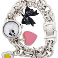 Disney Women's MN2012 Minnie Mouse Mother-of-Pearl Dial Charm Watch