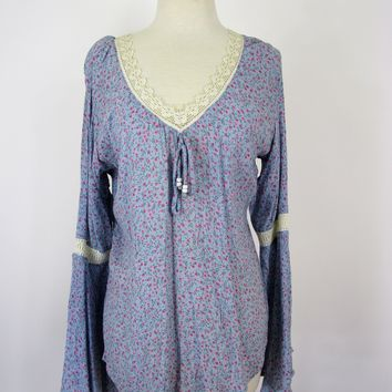 Encounter Gypsy Hippie Chic Flare Sleeve Peasant Top L NWT