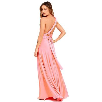 Women Boho Maxi Club Dress Red Bandage Long Dress Party Multiway Bridesmaids Convertible Infinity Robe Longue Femme 2018