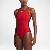 The Nike Water Polo Solid High Neck Women's Tank Swimsuit.