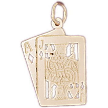 14K GOLD GAMBLING CHARM - PLAYING CARDS #5446