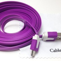 Purple 10ft ( 10 feet 10' ) Tangle Free Noodle Style Micro B USB Charging / Data Sync Cable fits Android Samsung Galaxy HTC LG Pantech Blackberry Motorola Sony ZTE