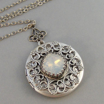 Under The Moon,Moonstone,Opal,Locket,Antique Locket,Silver Locket,Moon,White Stone,Princess Cut.October Birthstone, Valleygirldesigns.