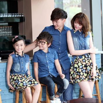 family look girl and mother dress father and son clothes shirt matching mother daughter  dress