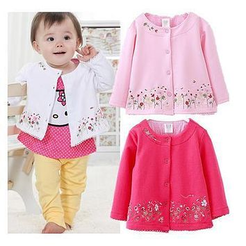 Spring and autumn new Children's Clothing Girls long sleeved cardigan  coat embroidered  flowers Kids clothes free shipping