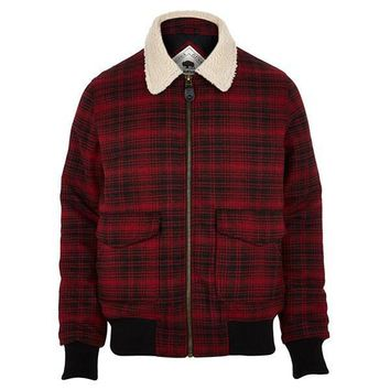 Red Plaid Shearling Jacket