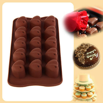15 Cup Heart Shaped Silicone Bakeware Mold Ice Chocolate Jello Mold Maker Kitchen Tool 21.2cm x 10.5cm x 2.2cm