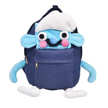 Canvas Backpack Cute Animals Casual Daypack School Bag Bookbag Zipper Bags  (Blue)