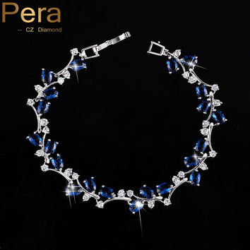 Natural Simulated Sapphire Women Jewelry Sterling Silver Dark Blue Cubic Zirconia Crystal Bracelets Bangle For Party Gift B042
