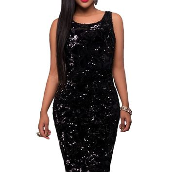 Chicloth Party Time Sequin Midi Bodycon Dress