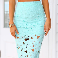 OLIVIA SKIRT - Floral patterned mint textured midi skirt